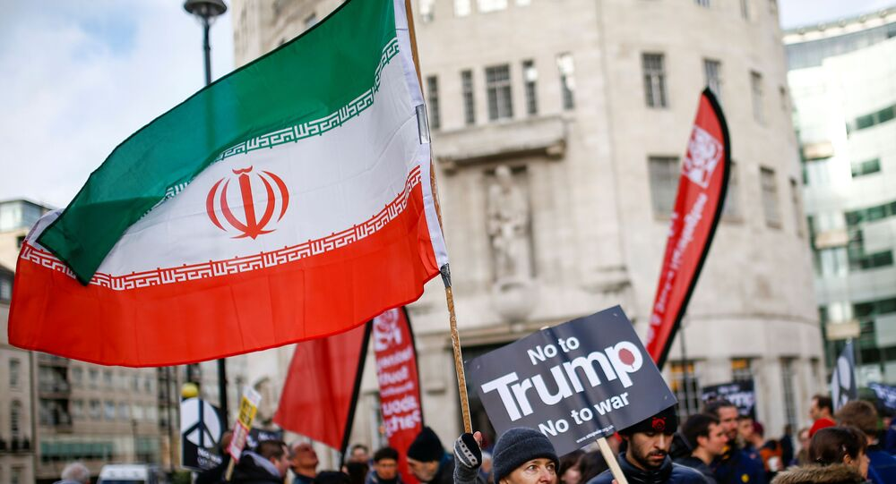 A demonstrator holds an Iranian flags while attending a protest to oppose the threat of war with Iran, in London, Britain January 11, 2020.