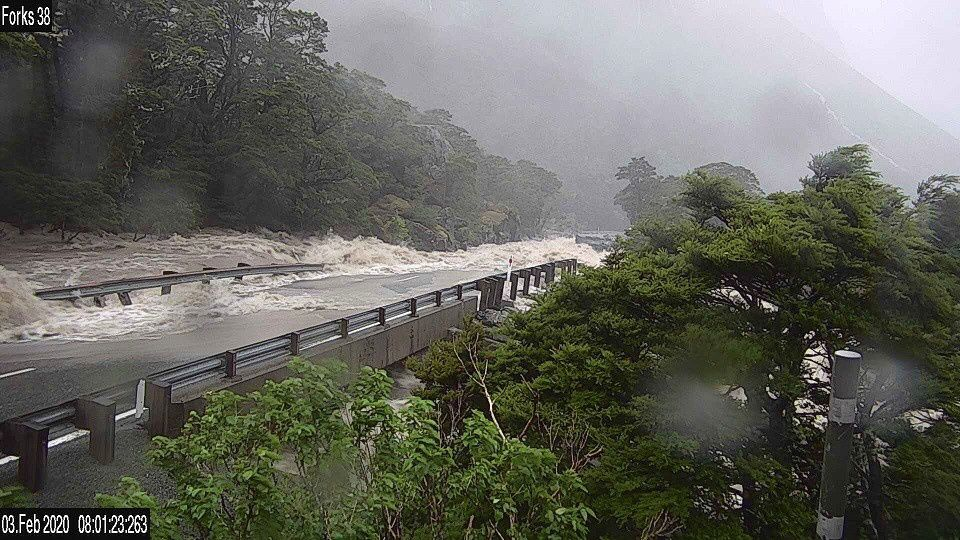 Road Partially Submerged in Floodwaters in New Zealand