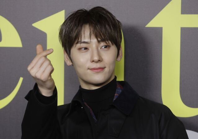 Hwang Min-hyun poses during the presentation of the Moncler women's Fall-Winter 2019-2020 fashion collection