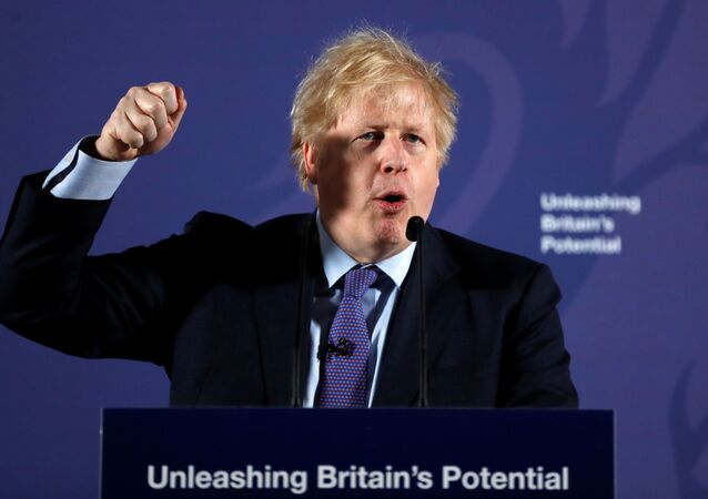 British Prime Minister Boris Johnson outlines his government's negotiating stance with the European Union after Brexit, during a speech at the Old Naval College in Greenwich, in London, Britain February 3, 2020.