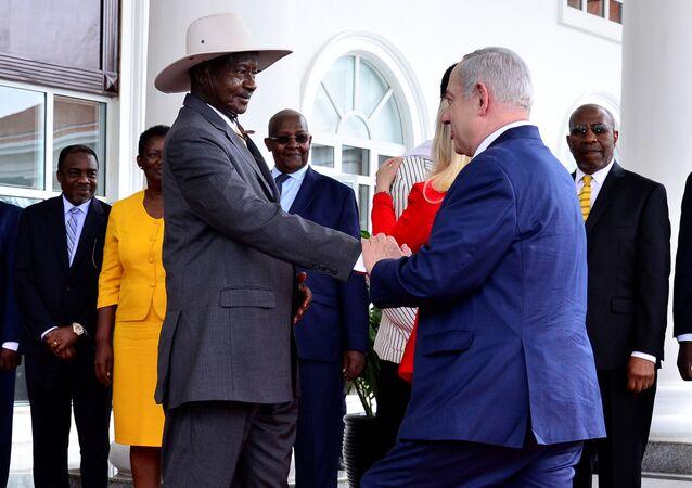 Israeli Prime Minister Benjamin Netanyahu meets Ugandan President Yoweri Museveni at State House in Entebbe, Uganda