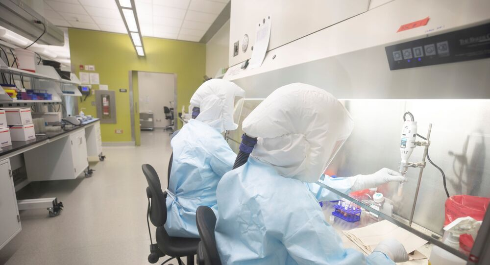Scientists work in VIDO-InterVac's containment level 3 laboratoryat the University of Saskatchewan in Saskatoon, Canada