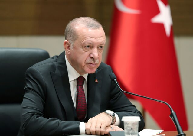 Turkish President Tayyip Erdogan speaks during a news conference in Istanbul, Turkey, February 3, 2020