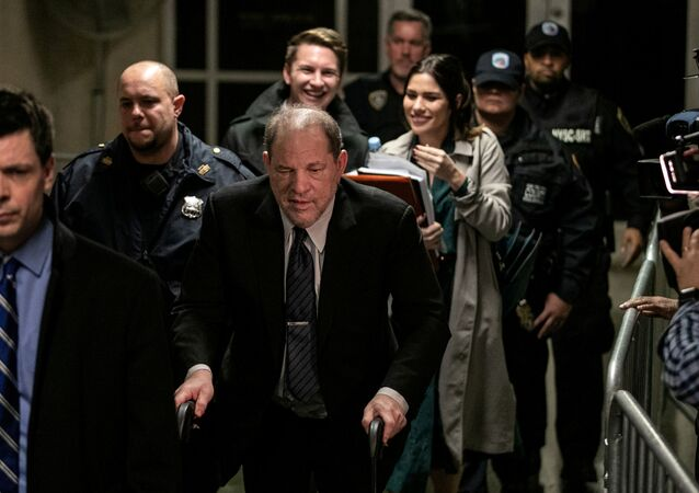 Film producer Harvey Weinstein leaves at New York Criminal Court for his sexual assault trial in the Manhattan borough of New York City, New York, U.S., February 3, 2020