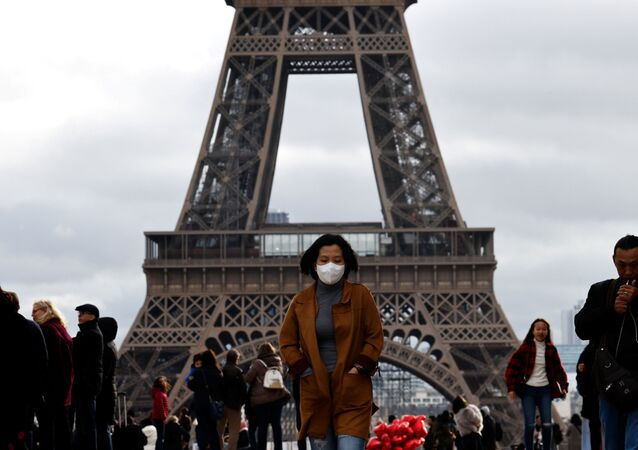 Woman in Protective Mask in Front of Eiffel Tower in Paris