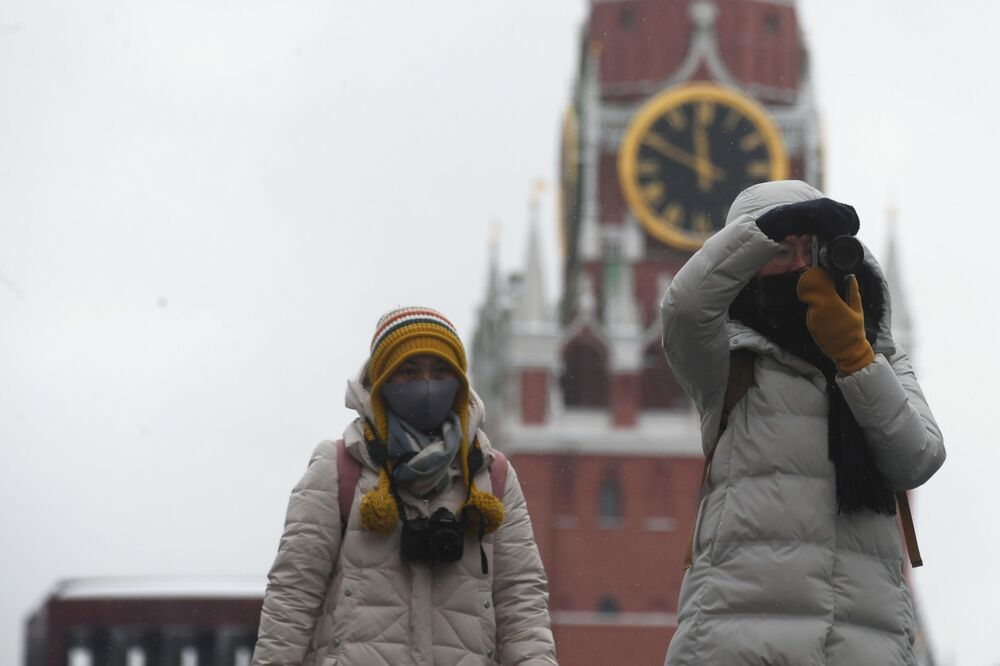 Foreign tourists at the Red Square in Moscow.