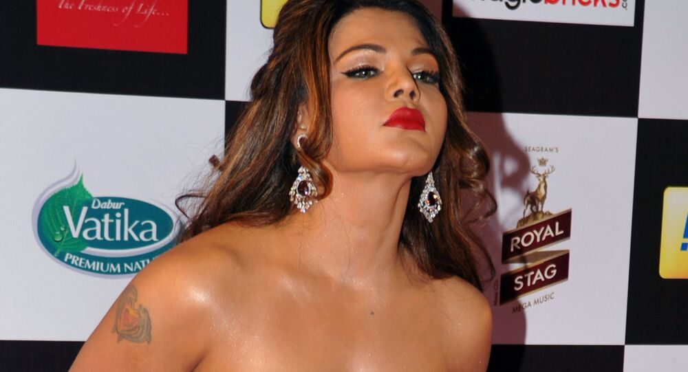 Indian Bollywood film actress and politician Rakhi Sawant attends the 'Mirchi Music Awards 2015' ceremony in Mumbai on February 26, 2015