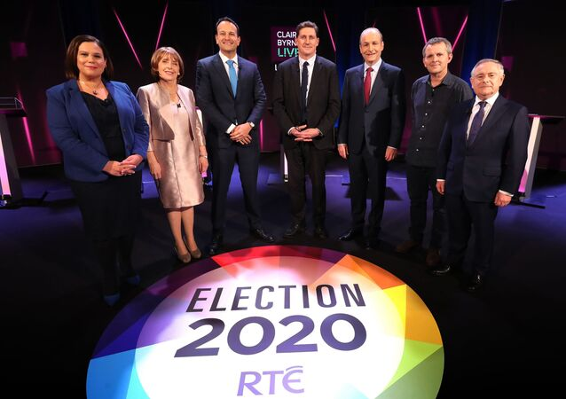 Sinn Fein leader Mary Lou McDonald (far left), Fine Gael leader, Taoiseach Leo Varadkar (third from left) and Fianna Fail leader Micheal Martin (third from right)