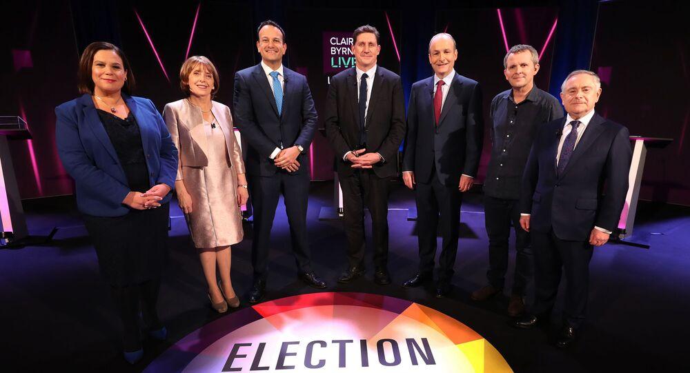 Sinn Fein leader Mary Lou McDonald (far left), Fine Gael leader, Taoiseach Leo Varadkar (third from left) and Fianna Fail leader Micheal Martin (third from right)