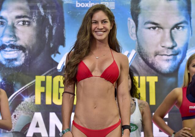 Avril Mathie during the weigh-in for Miami Fight Night on January 29, 2020 in Miami