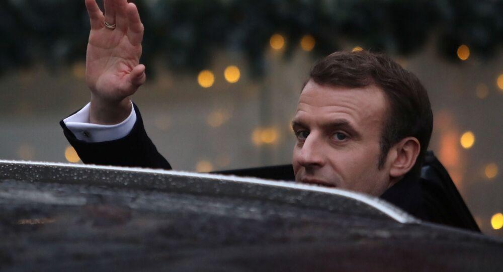French President Emmanuel Macron in Krakow, Poland