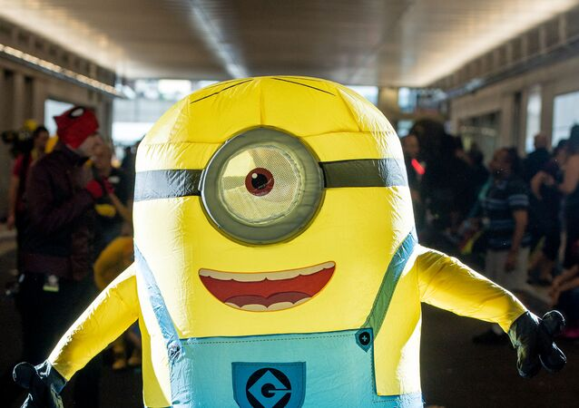 A fan cosplays as a Minion form Despicable Me during the 2018 New York Comic-Con at Javits Center on October 7, 2018 in New York City.   Roy Rochlin/Getty Images/AFP
