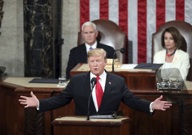 In this Feb. 5, 2019, file photo, President Donald Trump delivers his State of the Union address to a joint session of Congress on Capitol Hill in Washington, as Vice President Mike Pence and Speaker of the House Nancy Pelosi, D-Calif., watch.