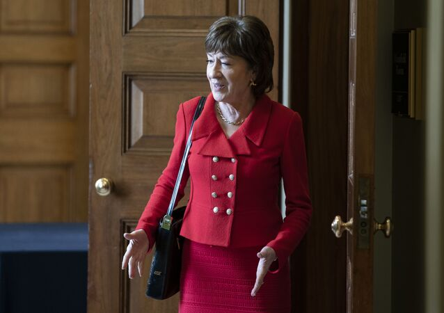 Senator Susan Collins (R-ME) departs a Senate policy lunch at the U.S. Capitol