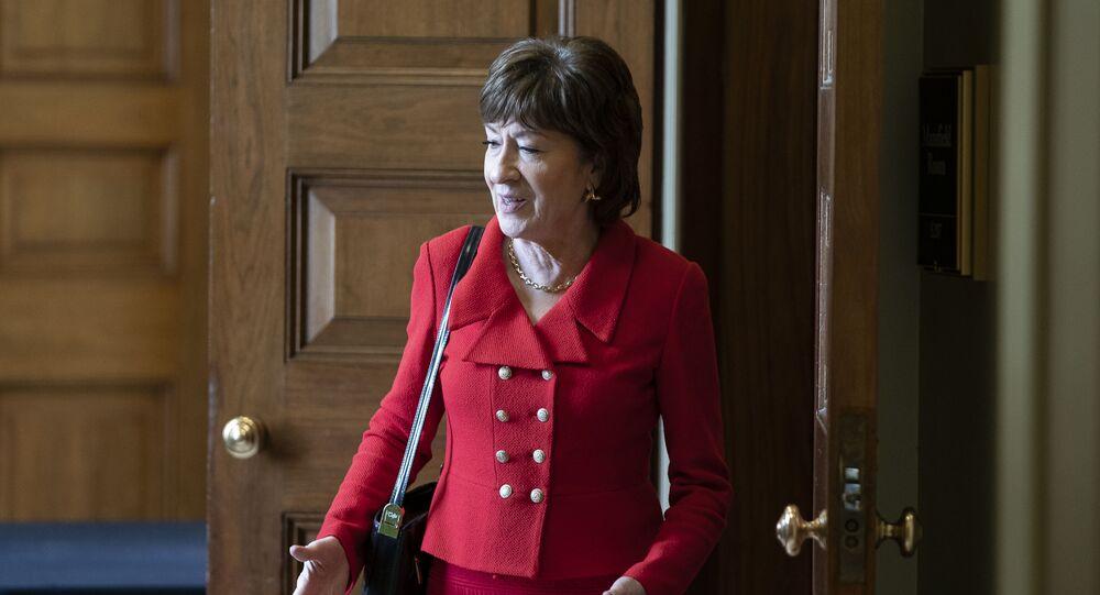 Senator Susan Collins (R-ME) departs a Senate policy lunch at the U.S. Capitol