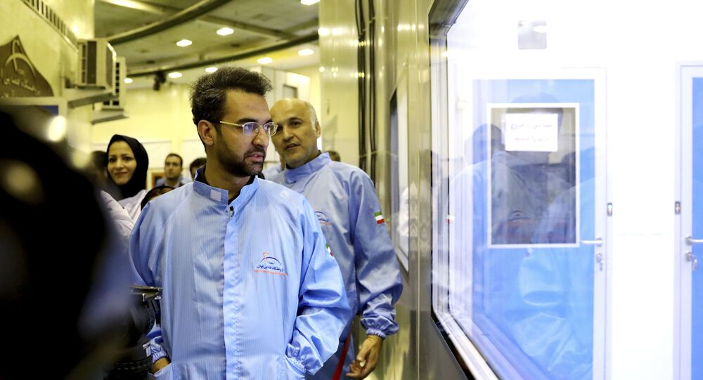 Minister of Information and Communications Technology Mohammad Javad Azari Jahromi at the space research center in Tehran, Iran