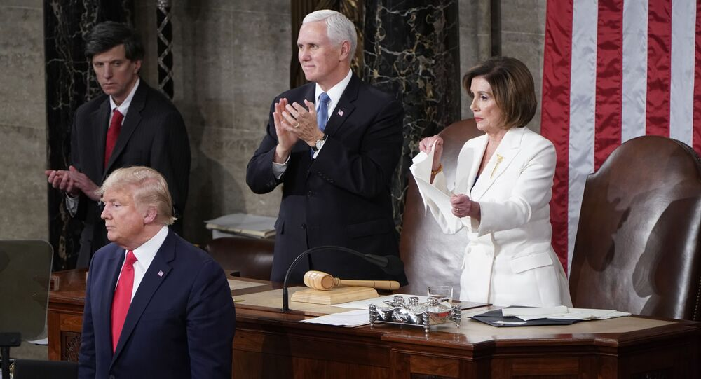 Speaker of the House Nancy Pelosi (D-CA) rips up U.S. President Donald Trump's speech alongside Vice President Mike Pence following the State of the Union address to a joint session of the U.S. Congress in the House Chamber of the U.S. Capitol in Washington, U.S., February 4, 2020