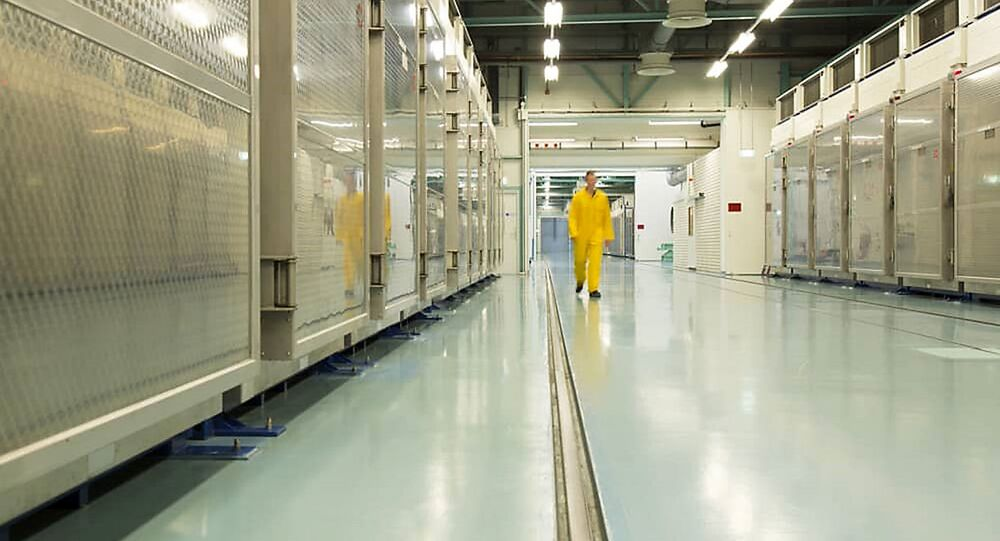 A handout picture released by Iran's Atomic Energy Organization on November 6, 2019, shows the interior of the Fordo (Fordow) Uranium Conversion Facility in Qom, in the north of the country