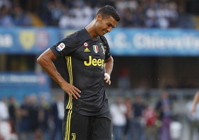 Juventus' Cristiano Ronaldo reacts during the Serie A soccer match between Chievo Verona and Juventus, at the Bentegodi Stadium in Verona, Italy