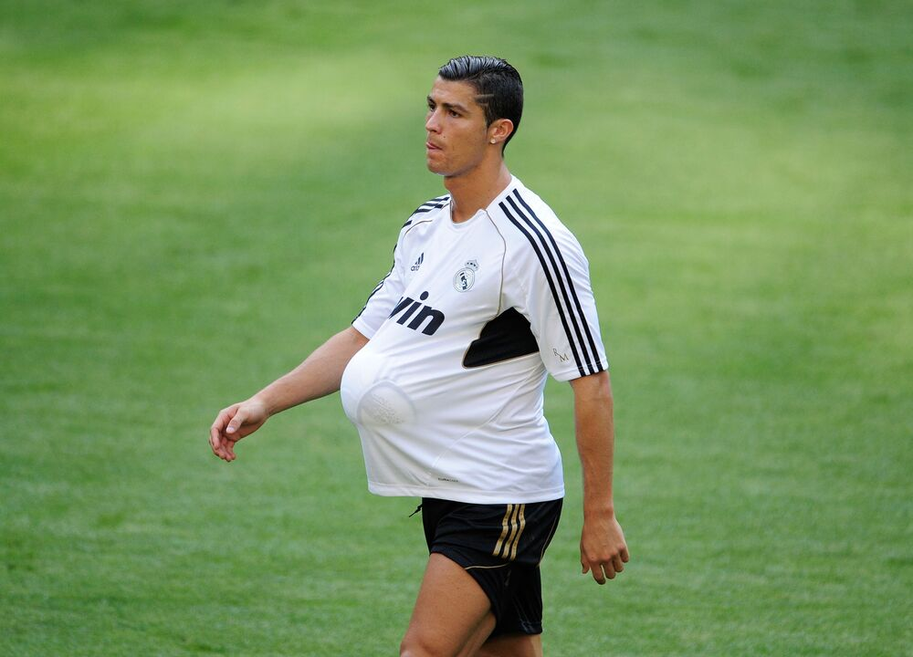 Forward striker Cristiano Ronaldo takes part in a training session at the Santiago Bernabeu Stadium in Madrid, 2011