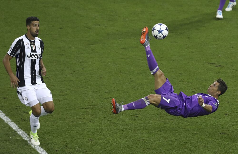 Cristiano Ronaldo kicks the ball during the final soccer match
