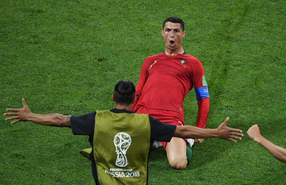 Portuguese Cristiano Ronaldo in the match between Portugal and Spain at the Fisht Stadium in Sochi, Russia, 2018