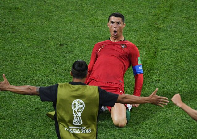 Portugal's Cristiano Ronaldo celebrates the goal during the World Cup Group B soccer match between Portugal and Spain at the Fisht stadium in Sochi, Russia, June 15, 2018.