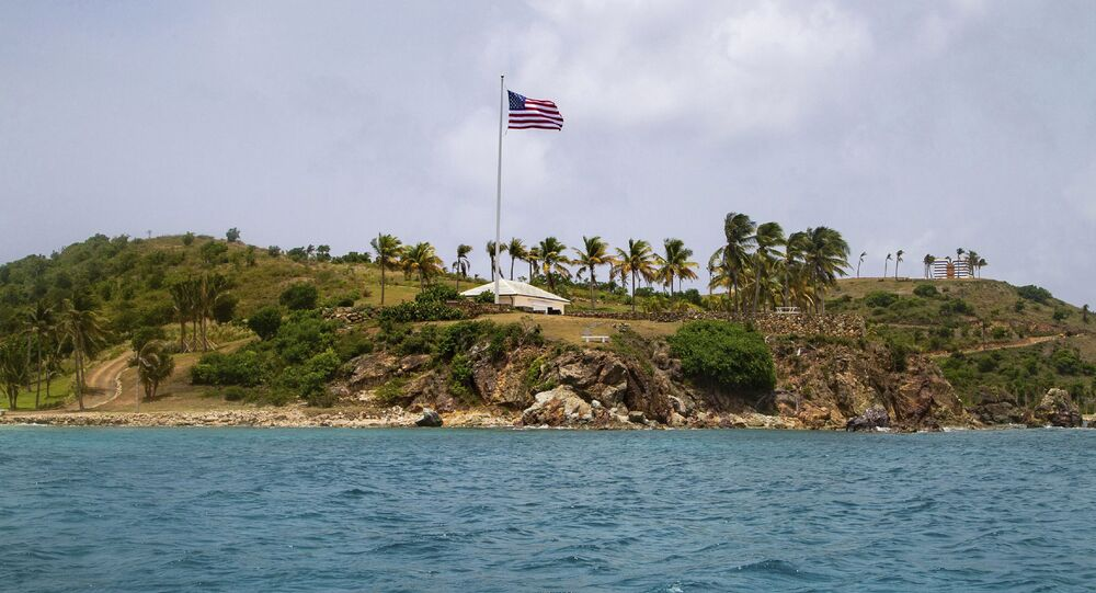This Tuesday, July 9, 2019 photo shows a view of Little St. James Island, in the U. S. Virgin Islands, a property owned by Jeffrey Epstein