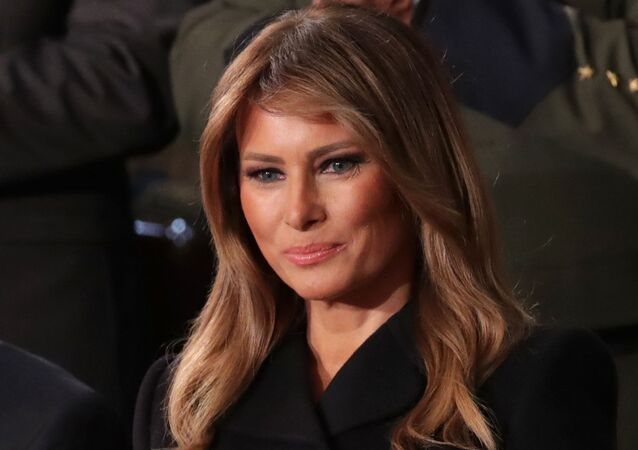 First lady Melania Trump listens to US President Donald Trump's State of the Union address to a joint session of the U.S. Congress in the House Chamber of the U.S. Capitol in Washington, 4 February 2020