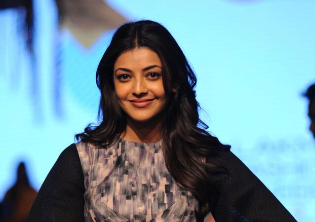 Indian Bollywood actress Kajal Aggarwal poses for a photograph during Lakmй Fashion Week Summer Resort 2017 in Mumbai on late Februsry 1, 2017