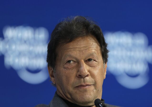 Pakistan's Prime Minister Imran Khan addresses the World Economic Forum in Davos, Switzerland, Wednesday, Jan. 22, 2020. The 50th annual meeting of the forum is taking place in Davos from Jan. 21 until Jan. 24, 2020