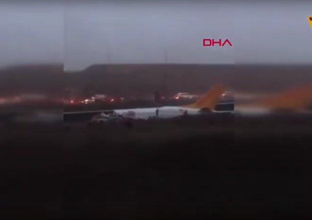 A passenger airliner has skidded off the runway at Istanbul's Sabiha Gokcen Airport