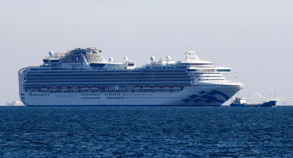 Cruise ship Diamond Princess is seen anchored off the Yokohama Port, after ten people on the cruise liner have tested positive for coronavirus in Yokohama, south of Tokyo, Japan 5 February 2020.