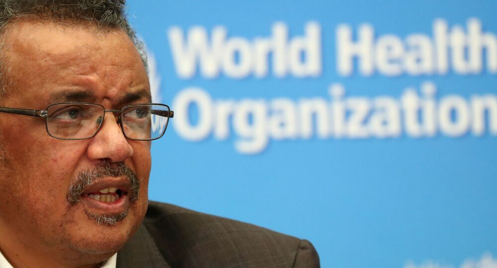 Director-General of the World Health Organization (WHO) Tedros Adhanom Ghebreyesus speaks during a news conference after a meeting of the Emergency Committee on the novel coronavirus (2019-nCoV) in Geneva, Switzerland 30 January 2020.