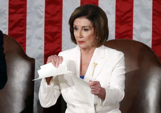 House Speaker Nancy Pelosi of Calif., tears her copy of President Donald Trump's State of the Union address after he delivered it to a joint session of Congress on Capitol Hill in Washington, Tuesday, Feb. 4, 2020.