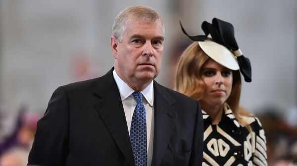Britain's Prince Andrew and Princess Beatrice arrive for a National Service of Thanksgiving to mark the 90th birthday of Britain's Queen Elizabeth II at St Paul's Cathedral in London, Friday, June 10, 2016. - Sputnik International