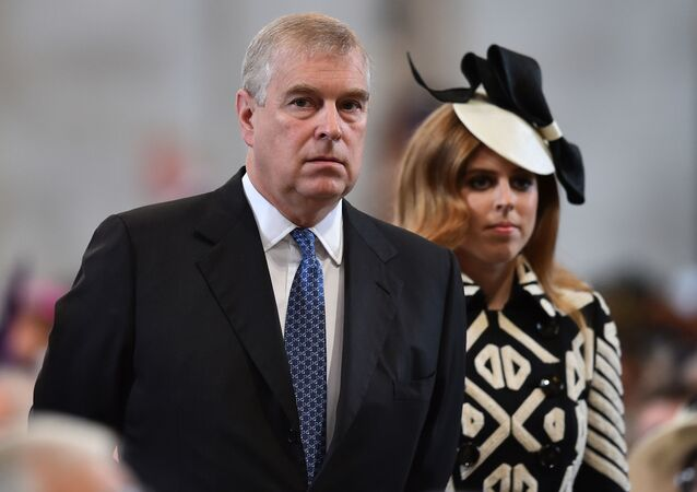 Britain's Prince Andrew and Princess Beatrice arrive for a National Service of Thanksgiving to mark the 90th birthday of Britain's Queen Elizabeth II at St Paul's Cathedral in London, Friday, June 10, 2016.