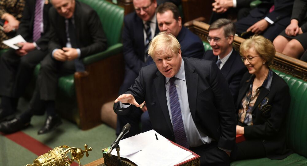 Britain's Prime Minister Boris Johnson speaks during a Prime Minister's Questions session in Parliament in London, Britain, 5 February 2020
