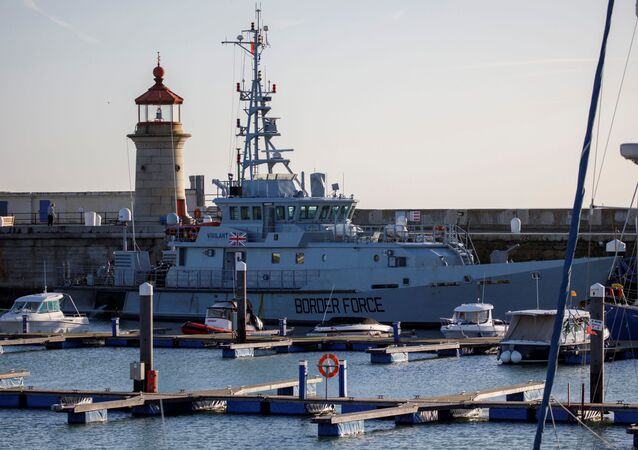UK Border Force vessel HMC Vigilant sits moored to the quayside in the Harbour in Ramsgate, south east England on January 8, 2019