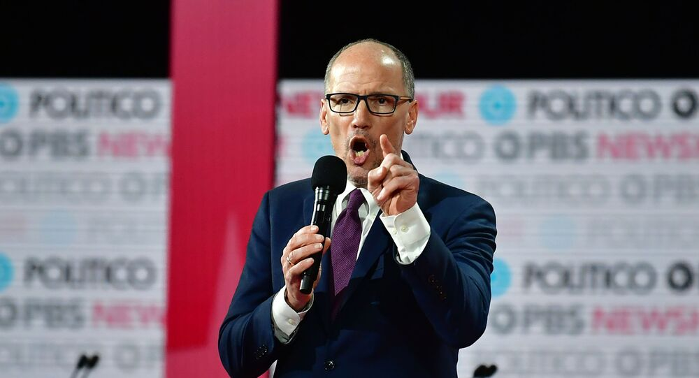 Chair of the Democratic National Committee Tom Perez speaks ahead of the sixth Democratic primary debate of the 2020 presidential campaign season co-hosted by PBS NewsHour & Politico at Loyola Marymount University in Los Angeles, California on 19 December 2019.