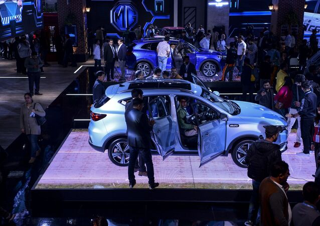 The MG Motor ZS EV pure-electric car is displayed on stage at the Auto Expo 2020 at Greater Noida on the outskirts of New Delhi on February 6, 2020