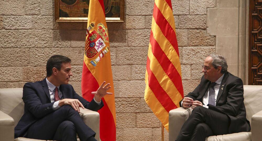 Spanish Prime Minister Pedro Sanchez and Catalan regional President Quim Torra