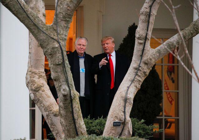 US President Donald Trump Talks with Actor Jon Voight