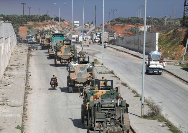 Turkish Military Convoy Passes Near Idlib