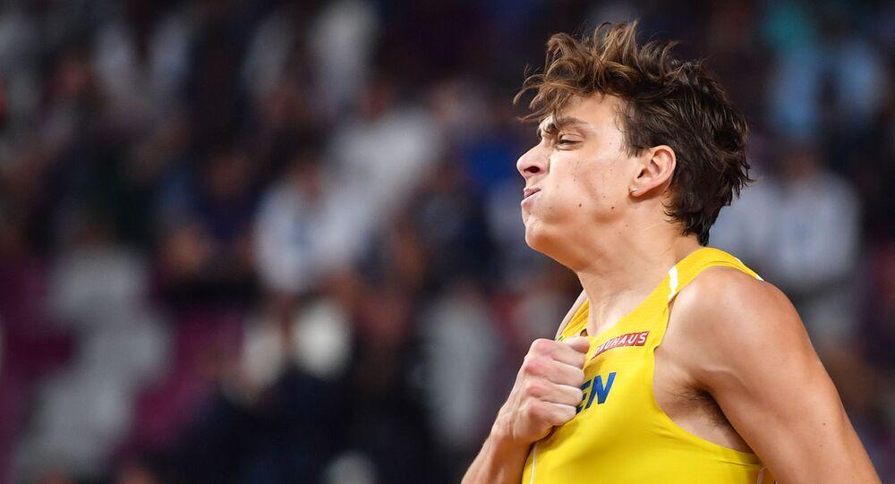Sweden's Armand Duplantis during the Men's Pole Vault final on October 1, 2019