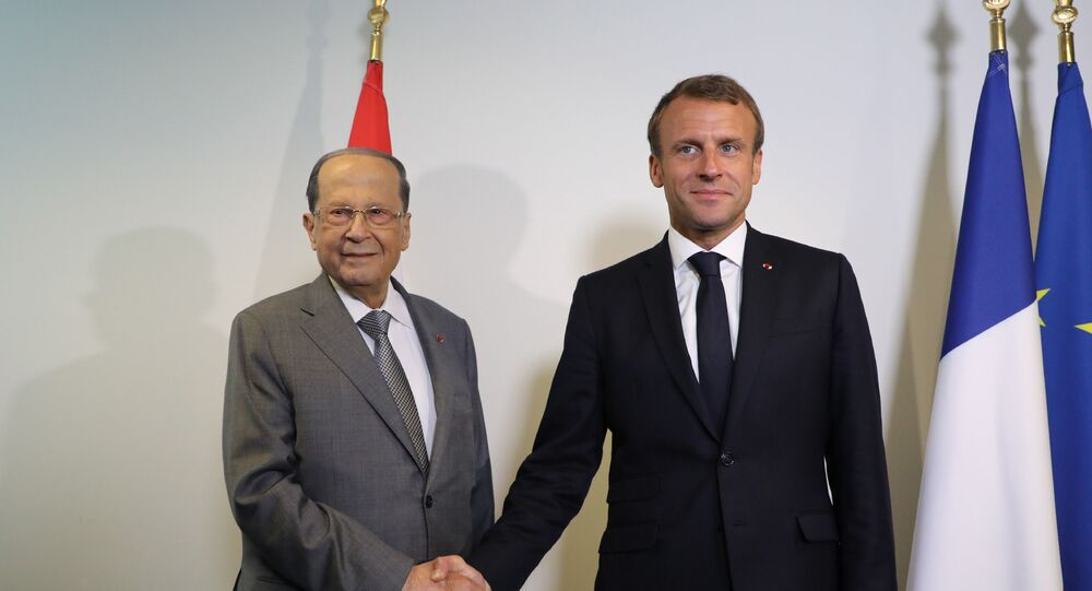 French President Emmanuel Macron meets with Lebanese President Michel Aoun at the United Nations headquarter