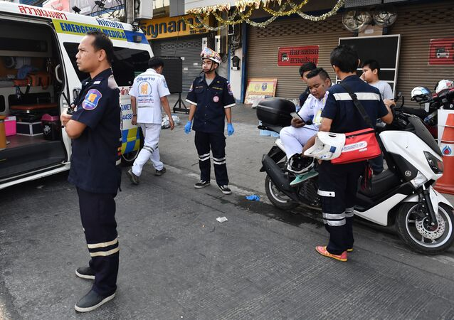 Paramedics and volunteers remain on standby outside the Terminal 21 mall, after a gunman involved in a mass shooting in the mall was confirmed dead, in the Thai northeastern city of Nakhon Ratchasima on February 9, 2020