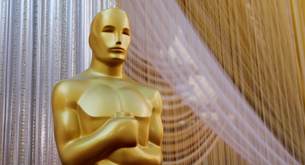 An Oscar statue stands along the red carpet arrivals area in preparation for the 92nd Academy Awards in Los Angeles
