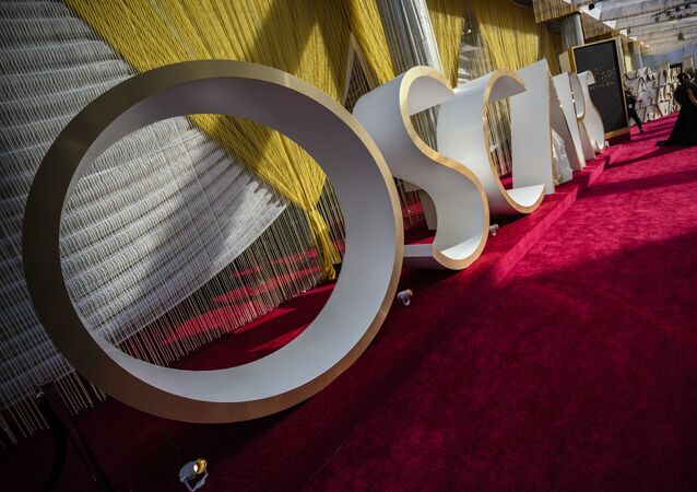 The Oscars sign and decoration is seen on the red carpet on the eve of the 92nd Oscars, February 8, 2020