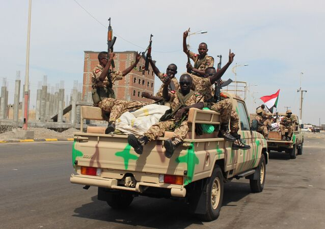 Sudanese soldiers at the port city of Aden, Yemen